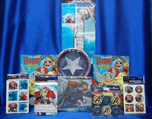 Thor Party Set # 9  Invites Napkins PLates Tablecover Activites  Eraser Tattoos