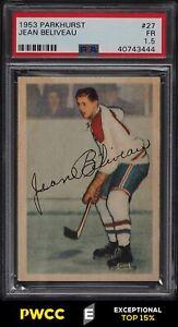 1953 Parkhurst Jean Beliveau ROOKIE RC #27 PSA 1.5 PR (PWCC-E)
