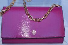 New Tory Burch Bag Robinson Patent Chain Wallet Crossbody Fuschia