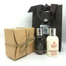MOLTON BROWN Rose Rhubarb Orange Bergamot 100ml Travel Gift Set Box Bag