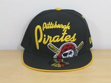New Era 5950 Hat Cap Big Script Pittsburgh Pirates Black Gold Yellow Size 7 1/2