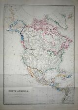 1884 LARGE VICTORIAN MAP ~ NORTH AMERICA ~ HAND COLOURED COUNTRY BORDERS