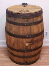 Whiskey Barrel Trash Can With Single Hinged Lid & Liner-FREE SHIPPIG