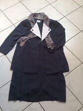 Damen Kostüm Jacke Blazer Rock RONNETTA Gr. 46 grau Kombination mit Schal Tuch
