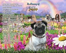 Unique Pet-Loss Gift-Pug Dog Memorial-Rainbow Bridge Poem-Personalized w/Name