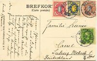 """SCHWEDEN 1909, sehr seltene schöne 4-Farben-Frankatur K1 """"Helsingborg L br"""" AK"""