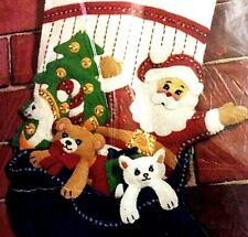 "18"" Christmas Stocking Kit 9220 Santa and Pets Felt Hobby Kraft Storybook"