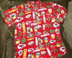 Kansas City Chiefs Christmas button up shirt Men's medium NEW NFL Gingerbread