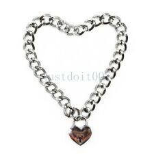 Fashion Stainless Steel Bondage Slave Collar Chain Neck Restraint Heart Necklace