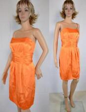 David's Bridal Tangerine Orange Satin Strapless Bridesmaid Cocktail Dress #83707