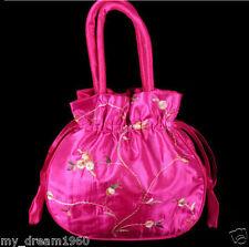 Fashion Women's Embroider Flower Silk Satin Bag Purse Jewelry Handbag Bags Gift