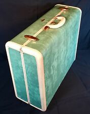 Vtg Samsonite Hard Case Suitcase Marbled Green Shwayder Bros. Mid Century