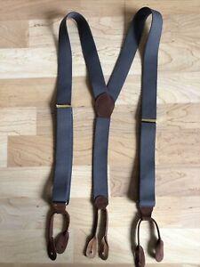 Men's Elastic Gray Elastic Suspenders Button Tab Adjustable Gold Metal Y Back