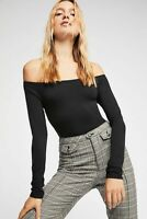 New Free People Womens Seamless Long Sleeve Off -The-Shoulder Solid Top $38