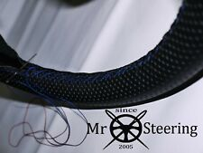FOR PANHARD 24 64-67 PERFORATED LEATHER STEERING WHEEL COVER R BLUE DOUBLE STCH