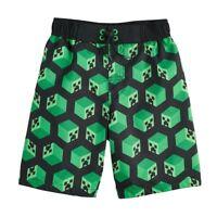 NWT Minecraft Creeper Boy's Swim Trunks Shorts Swimsuit Gamer Green Sz 4 5 6 7