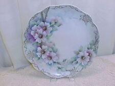 BEAUTIFUL VINTAGE HANDPAINTED CAKE PLATE-CALIF. PORCELAIN-PINK FLOWERS