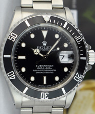 ROLEX - Mens 40mm Stainless Submariner Black Index 16610 BOX BOOKS - SANT BLANC