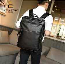 Men black leather backpack student shool bag bookbag travel outdoor rucksack bag