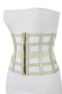 New Women Champagne Metallic Gold Wide Elastic Waistband Corset Fashion Belt S M