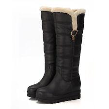 Womens Winter Snow Shoes Mid Heel Platform Knee High Boot Fur Waterproof Plus Sz