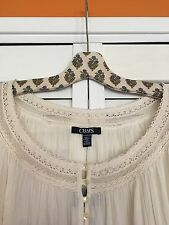 2X New Ralph Lauren CHAPS Cotton Gauze Peasant Top Vintage Ivory Lace Shirt 3X