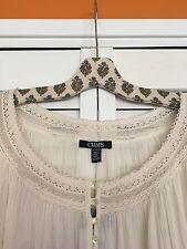 1X New Ralph Lauren CHAPS Cotton Gauze Peasant Top Vintage Ivory Lace Shirt XL
