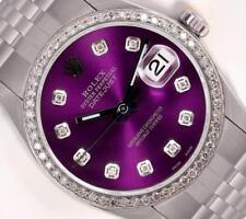 Rolex Datejust Stainless Steel 36mm Watch-Purple Diamond Dial-18k Diamond Bezel