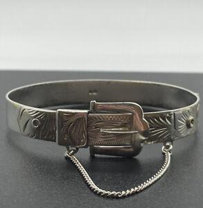 925 Sterling Silver Belt Buckle Bangle, 20g, 6.5cm Wide