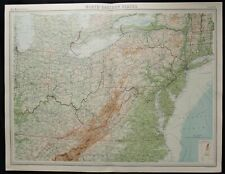 Vintage Map: US North Eastern States by John Bartholomew, Times Atlas, 1922