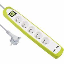 Electraline Gummy 35609 Bloc multiprise 5 prises et 2 USB - Couverture Vert