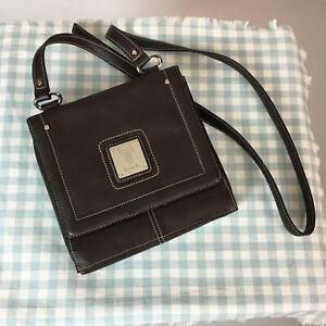 "TIGNANELLO Brown Soft Pebbled Leather Organiser Cross Body Bag Travel 8"" x 8"""