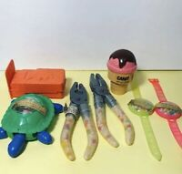 Vintage Collectible Plastic Candy Toy Tool Turtle Watch Container Lot