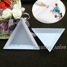 2Pcs/Set Nail Art Stud Storage Display Empty Triangular Plastic Plate Container