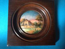 Vintage Tableau Cadre Bois EMAUX DE LIMOGES PAR NIVARD PINGEN Maison de Campagne