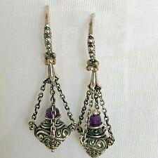 Retired - Barbara Bixby Amethyst Dangle Earrings Sterling/18K