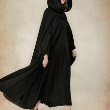 Women Fashion Solid Black Green Vintage Cloak Cape Jacket Long Hooded Parka Coat