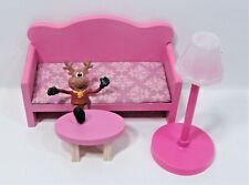 3-PC KidKraft Penelope Dollhouse Miniature Couch Stool Lamp Orchid Mauve 1:8