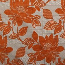 Burnt Orange Floral Chenille Leaves Patch Work Cushion Sofa Upholstery Fabric