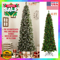 6/7.5 Ft/Foot Slim Pencil Flocked Decorated Christmas Tree With Metal Stand Xmas