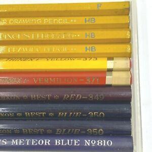 10 Dixon Drawing Pencils Eldorado HB F Best Red Meteor Blue Thinex Vintage OF