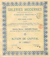 Galeries Modernes, Etablissements Colin & Cie. SA, accion, 1926 (Siege: Dour)