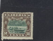 "Liberia 1909 official, 50c canoe, MISSING ""OS"" overprint #O67"