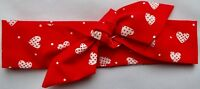 RED AND WHITE HEARTS HEADWRAP WRAP HEADBAND KNOT BOW BABY GIRLS NEW