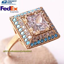 Handmade 925 Sterling Silver Square Zircon and Turquoise Stone Ladies Woman Ring
