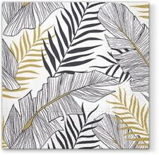 Exotic Golden Black Leaves Paper Luncheon Napkins 40pcs Tropical Miami Party
