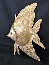 Angel Fish Ivory Capiz Finish Marine Life Wall Decor