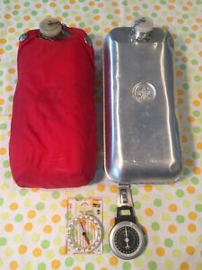 Qty 2 Boy Scout Metal Canteen - Red Nylon Cover - Silva Compass - K+R Pedometer