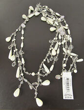 LAUREN Ralph Lauren 'Winter Luxe' White Clear Bead Teardrop Long Necklace $128