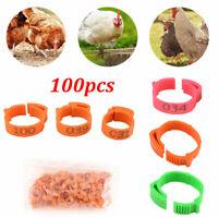 100Pcs/Set Poultry Bands Foot Ring Leg Clip For Chicken Duck Bird Pigeon Parrots